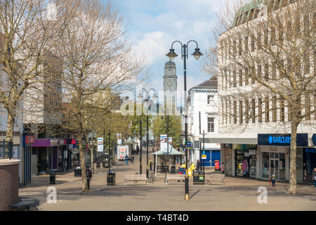 A view down George Street, a pedestrianised shopping street in Luton, Bedfordshire. - Stock Image