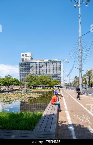 Israel, Tel Aviv-Yafo - 20 April 2019: Tel Aviv city hall on Kikar Rabin square - Stock Image