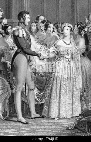 Wedding of Queen Victoria and Prince Albert, February 10, 1840, engraving by Charles Eden Wagstaff, 1844 - Stock Image