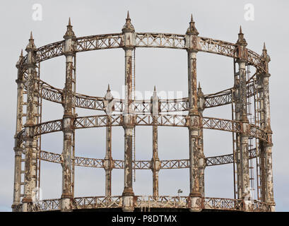 A derelict Victorian Gasometer in Great Yarmouth, Norfolk, UK. - Stock Image