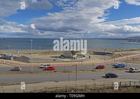 view over seafront with monument in the middle of Punta Arenas  Punta Arenas, Chile                    January - Stock Image