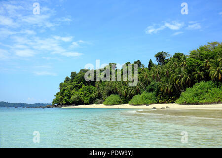 Tropical Beach of Coibita, aka Rancheria, with Isla Coiba in the Background. Coiba National Park, Panama - Stock Image