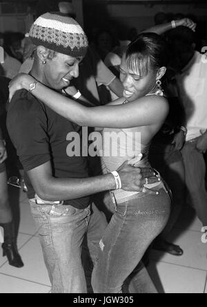 Local youths dance at Kingston's hottest Dancehall nightclub  Club Quad. Located in New Kingston, Club Quad - Stock Image