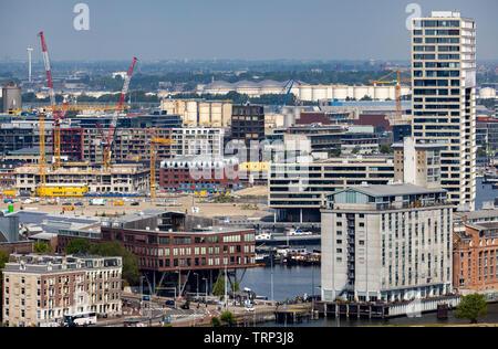 Amsterdam, Netherlands, Zeeheldenbuurt residential area, harbor area, Houthavens district, Pontsteiger complex in the former wooden port, on the Ij, H - Stock Image