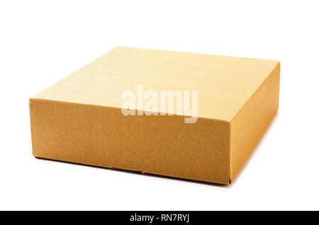 New cardboard box isolated on a white background - Stock Image