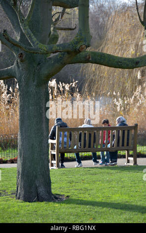 St James's Park in winter, London, England, UK. Family sitting on a bench - Stock Image