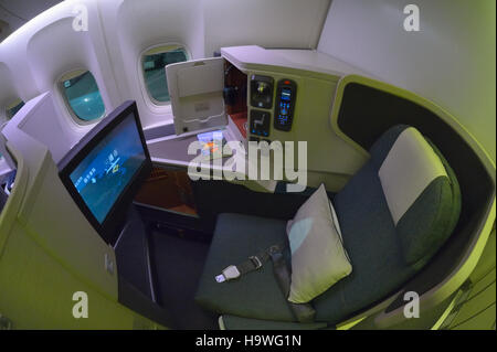 Cathay Pacific business class on a B777-300ER, San Francisco CA (Fisheye) - Stock Image