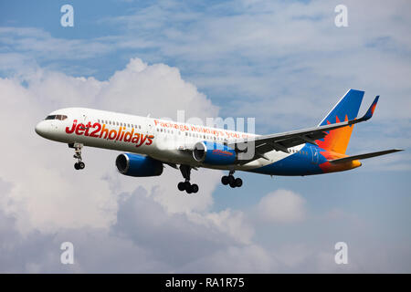 Barcelona, Spain - September 16, 2018: Jet2 Boeing 757-300 with Jet2holidays special livery approaching to El Prat Airport in Barcelona, Spain. - Stock Image