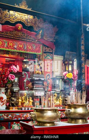 Sin Sze Si Ya Taoist Temple, Chinatown, Kuala Lumpur, Malaysia.  Joss Stick Urns and Altar Decorations. Oldest Taoist temple in Kuala Lumpur (1864). - Stock Image