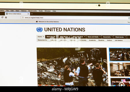 United Nations website, UN.org, United Nations homepage, United Nations internet, United Nations, United Nations news, United Nations logo, logo, web - Stock Image