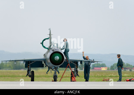 Croatian Air Force MiG-21 BISD fighter check up after landing - Stock Image