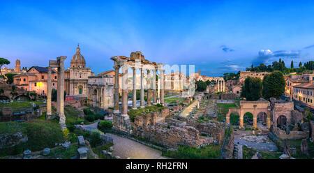 Panorama of Roman Forum at dusk, Rome, Italy - Stock Image
