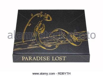 The Folio Society edition of Milton's 'Paradise Lost', lying flat and showing spine and front cover.  Isolated on white background. - Stock Image