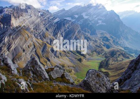 Alpine mountain view in the Swiss Alps in Vaude, Switzerland. - Stock Image