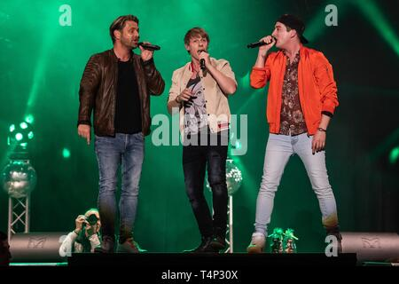 German Schlager trio and party band Die Zipfelbuben, live at the 19th Schlagernacht in Lucerne, Switzerland - Stock Image
