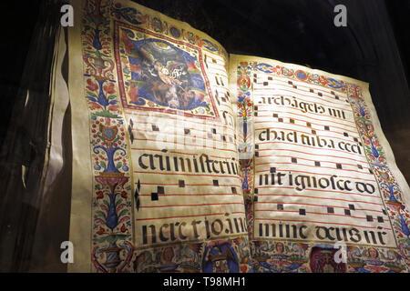 Medieval or early Renaissance choir book in the cathedral.  Full name, Santa Iglesia Catedral Metropolitana de la Encarnacion, or Metropolitan Cathedr - Stock Image