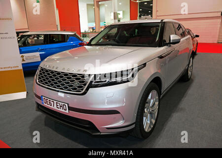 Three-quarter front view of a Range Rover Vela, on display at he 2018 London Motor Show - Stock Image