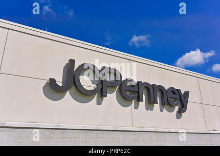 JCPenney or JC Penney exterior building sign and corporate logo in Montgomery, Alabama USA. - Stock Image
