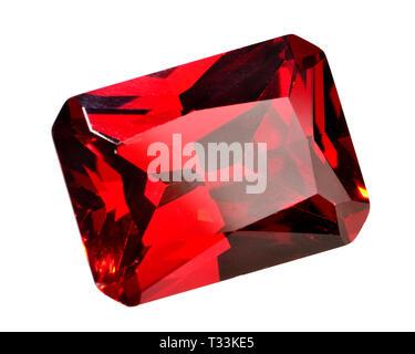 Octagon-cut Garnet gemstone (synthetic / lab-created) - Stock Image