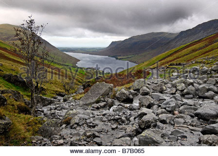 Wast Water from Lingmell Gill to Scafell Pike - Stock Image