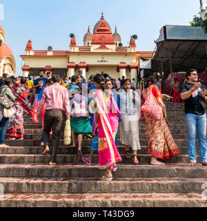 Square view of people on the ghat at Dakshineswar Kali temple in Kolkata aka Calcutta, India. - Stock Image