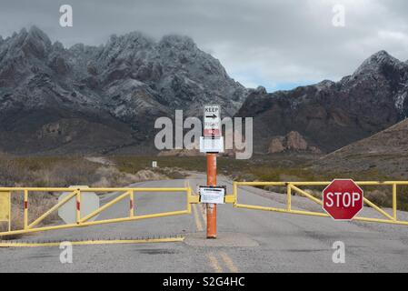 Government shutdown closed Organ Mountains Peaks National monument - Stock Image