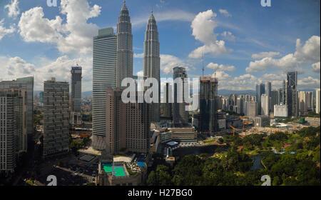 Petronas Towers at twilight, Kuala Lumpur MY (Panorama) - Stock Image