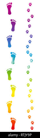 Footprints of dog and barefoot human master going for a walk. Rainbow colored footsteps - illustration on white background. - Stock Image