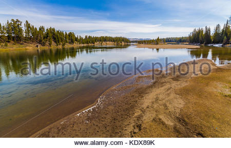 View from the Fishing Bridge over the Yellowstone Lake - Stock Image