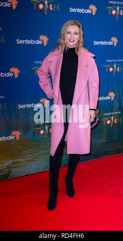 London, United Kingdom. 16 January 2019. Rachel Riley arrives for the red carpet premiere of Cirque Du Soleil's 'Totem' held at The Royal Albert Hall. Credit: Peter Manning/Alamy Live News - Stock Image