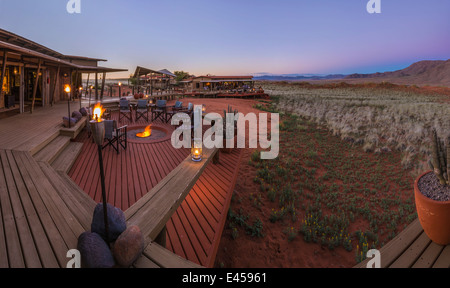 The deck area of Dunes Lodge.Wolwedans NamibRand Nature Reserve, Namibia - Stock Image