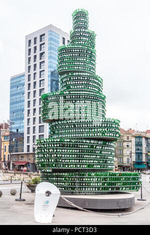 Wine bottle tree sculture, Gijon, Spain - Stock Image
