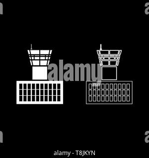 Airport control tower Airport Building Flight control tower icon outline set white color vector illustration flat style simple image - Stock Image