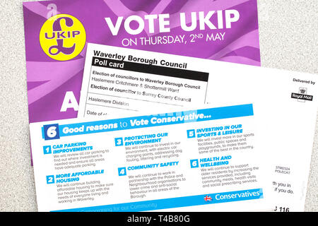 Local Elections May 2nd 2019 Poll card and leaflets - Stock Image