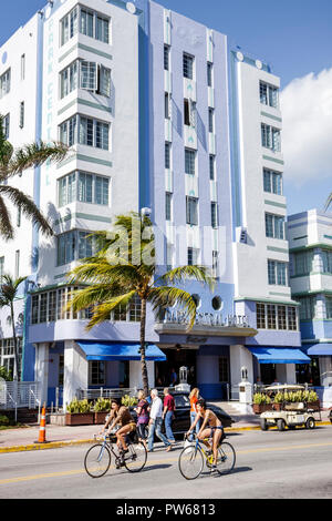 Miami Beach Florida Ocean Drive New Year's Day Art Deco District Park Central Hotel palm tree architect Henry Hohauser vertica - Stock Image