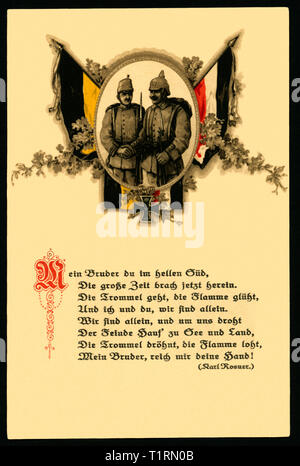WW I, propaganda, patriotic postcard as a symbol of a German - Austrian alliance with an poem of Karl Rosner (1873 - 1951). , Additional-Rights-Clearance-Info-Not-Available - Stock Image