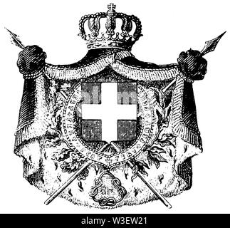 Coat of arms: Italy, ,  (cultural history book, 1875) - Stock Image