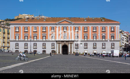 Naples (Italy) - Piazza Plebiscito, the main square in the historic centre of Naples. Prefecture Palace - Stock Image