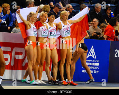Glasgow, UK: 3rd March 2019: Polish relay women team wins gold in 4x400m on European Athletics Indoor Championships 2019.Credit: Pawel Pietraszewski/ Alamy News - Stock Image