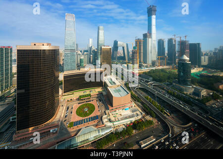 Beijing, China modern financial district skyline on a nice day with blue sky - Stock Image