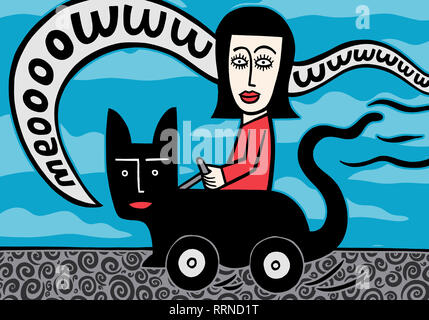 A lady in her cat car - Stock Image