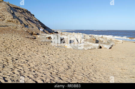 Coast erosion on the East Norfolk coast at Winterton-on-Sea, Norfolk, England, United Kingdom, Europe. - Stock Image