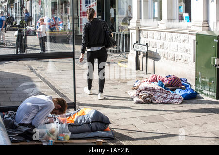 Windsor 'rough sleeping epidemic', as the number of homeless people on the streets of the Royal town escalates, Berkshire, England, United Kingdom - Stock Image