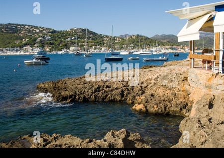 Puerto d'Andratx, the end of the day, restaurant, table, harbourside, yachts - Stock Image