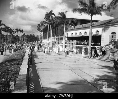 Grandstand, Hialeah Racetrack, Florida, 1942 - Stock Image