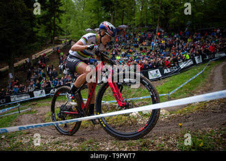Kate Courtney of USA competes at the XC women race of the UCI MTB World Cup in Albstadt, Germany, May 19, 2019. (CTK Photo/Michal Cerveny) - Stock Image