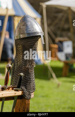 Chainmail body armour at a Re-enactment medieval festival - Stock Image