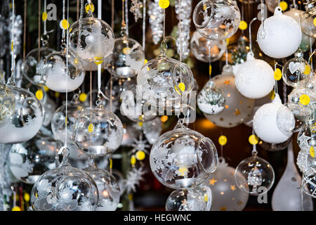 Glass Christmas tree decorations - Stock Image