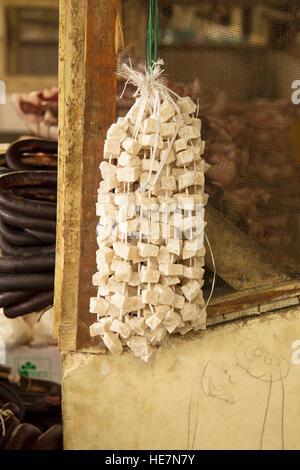 Yak fat on the Thimpu market in Bhutan - Stock Image