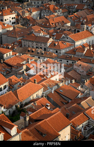 Looking down on the Old Town, Dubrovnik from the city walls - Stock Image